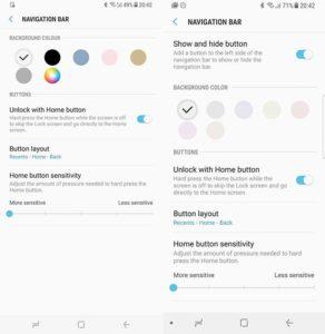 Samsung изменила цветовые настройки фона панели навигации Galaxy S8