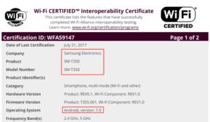 Samsung Galaxy Tab A 8.0 2015 Android 7.0 обновление Wi-Fi сертификата