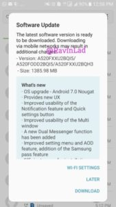 Samsung Galaxy A5 (2017) Android 7.0 Nougat Update Индия