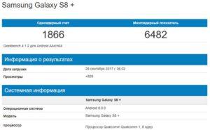 Android 8.0 Oreo для Galaxy S8+ в Geekbench