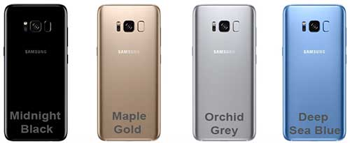 Цвета корпуса Samsung Galaxy Note 8